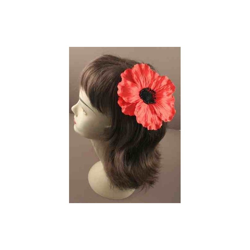 Large red fabric poppy flower on a forked beak clip