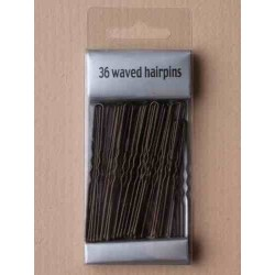 Kirby Hair Grips - 36 Boxed Brown 6.5 cm Waved Hairpin hair grip slides