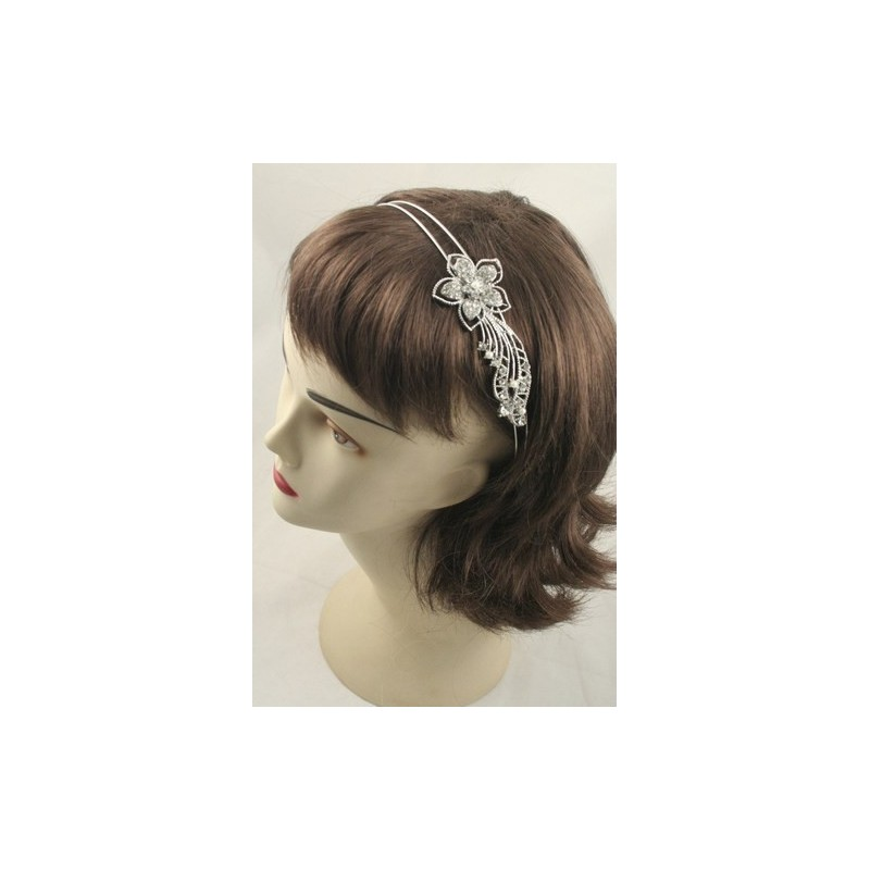 Aliceband - Crystal flower decoration on a double wire headband alice band