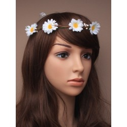 Daisy Halo Wire Hoop Headband with ties