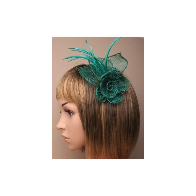 fascinator de clip y pin - verde esmeralda neta flor y pico pluma clip de fascinator