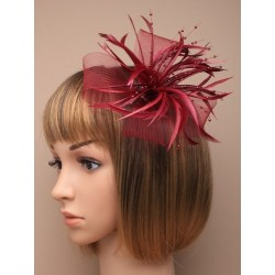 Fascinator Clip & Pin - large looped net and feather fascinator on a forked clip and brooch pin. in burgundy