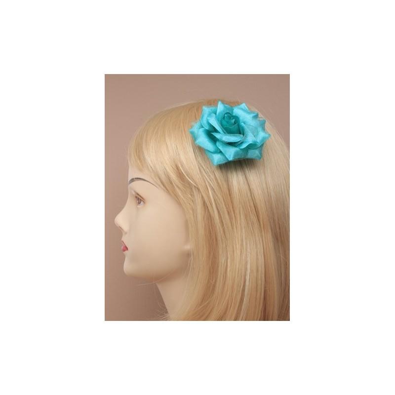 pico de broche para el cabello - delicada tela rosa en silv bifurcada diapositivas agarre el pelo