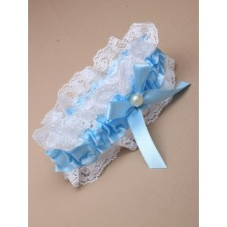 Blue ribbon and lace garter with Centre Pearl bead and...