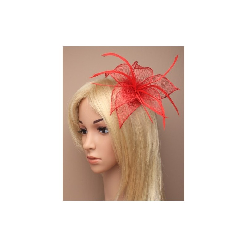 fascinator de clip y pin - flor de malla de tela de color rojo clip de fascinator