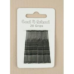 Kirby Hair Grips - 20 black 40mm waved hairpin hair grip...