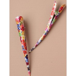 Beak Hair Clip - Black or White with Brightly coloured daisy print (13cm) statement hair grip slides