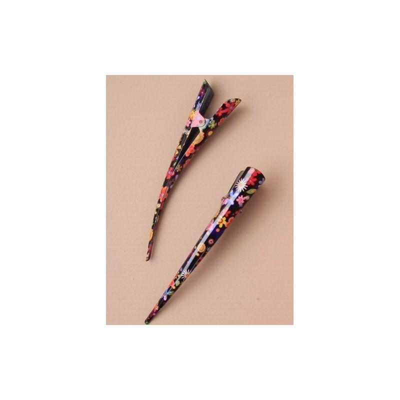 Beak Hair Clip - Brightly coloured daisy print (13cm) statement hair grip slides