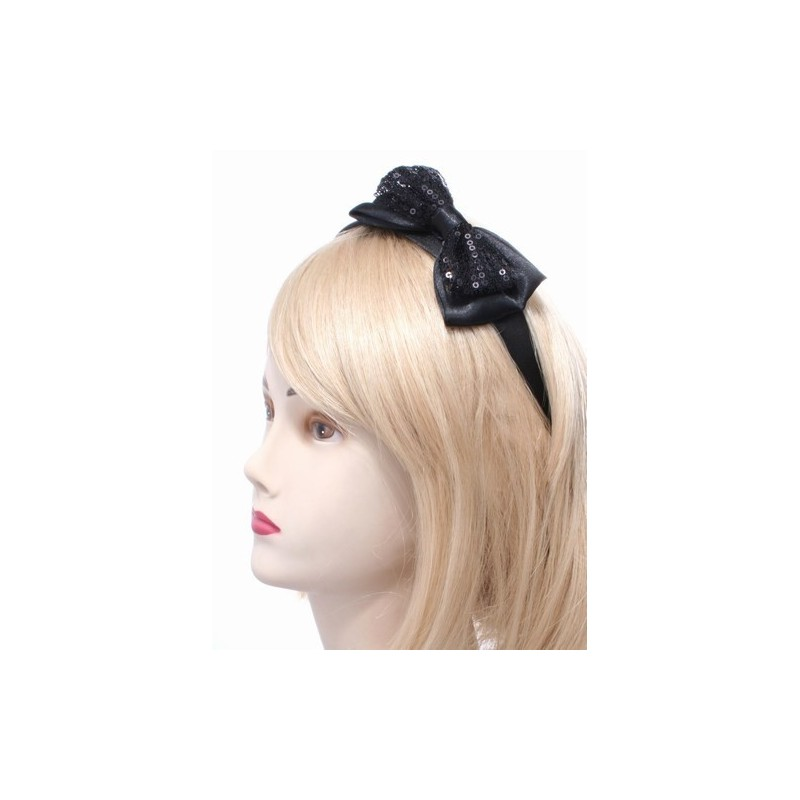 Aliceband - Black net & ribbon sequin double bow headband alice band