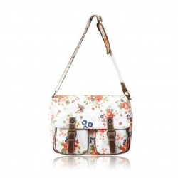 Satchel Bag - Floral Print on White - LYDC Messenger...