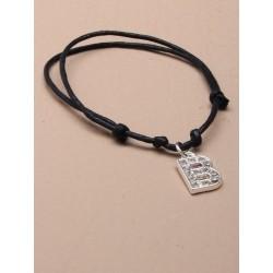 Black Corded Bracelet with diamante letter charm