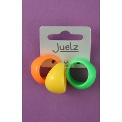 card of 3 bright coloured plastic rings. in 3 colourways. assorted sizes.