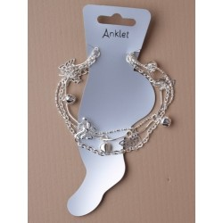 triple row sliv chain butterfly and bell charm anklet.