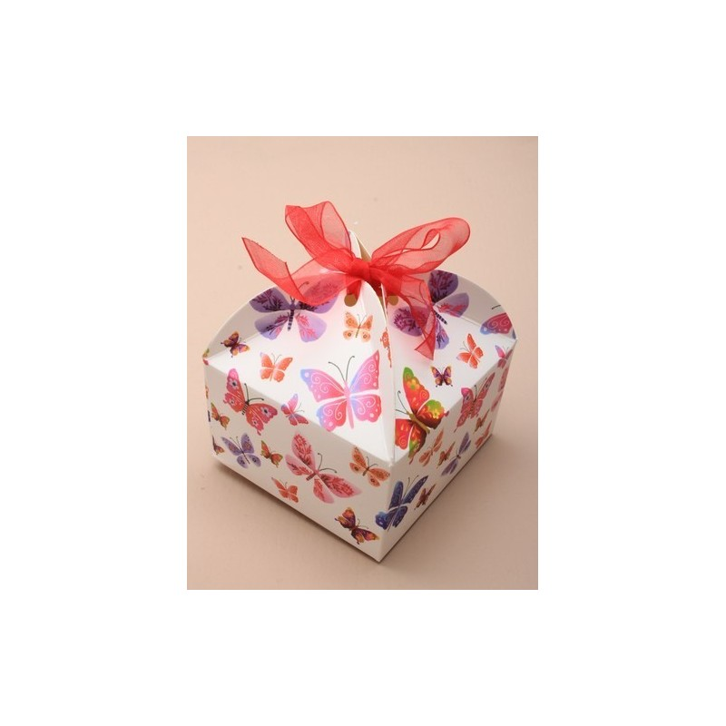 made up size 8x8x5cm.square butterfly print ribbon tied top gift box. this item comes flat packed.