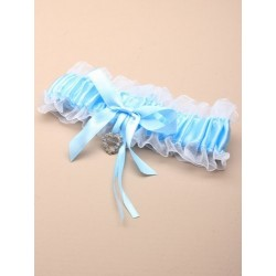 blue satin ribbon with white net garter with glass...