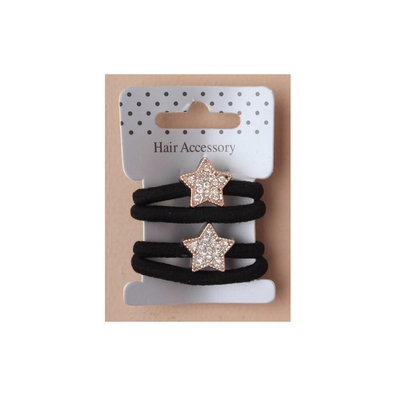 kort på 2 sorte elastikker med krystal stjerne motiv.