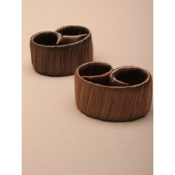 Pony Tail Holder - imitation hair self wrapping pony tail ring. in 2 shades of brown.
