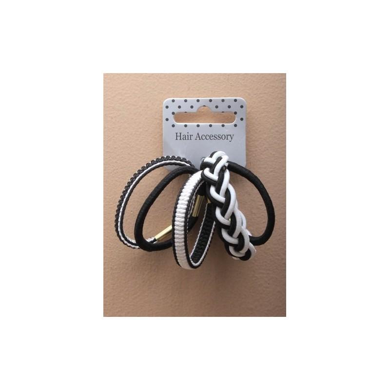 tarjeta de 5 elásticos monocromas en blanco y negro con puntera.