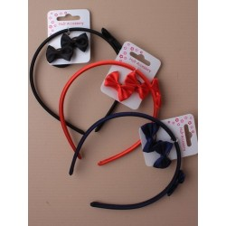 narrow satin aliceband with fabric side bow and a pair of bow ponios. in red/navy and black.