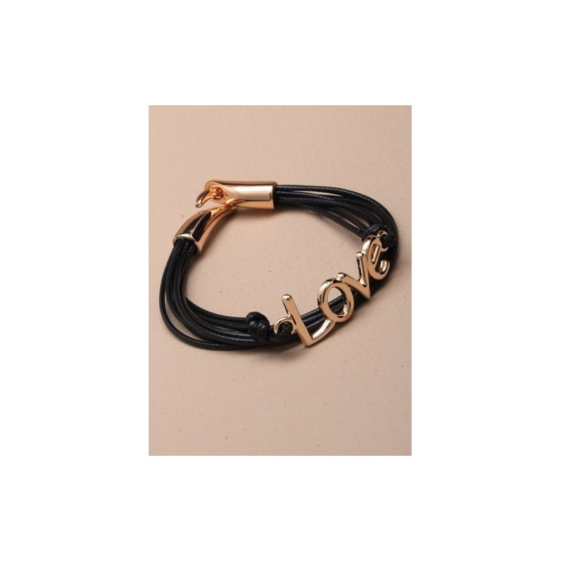 """múltiples hebra con cable pulsera """"amor"""". en un surtido de rojo / negro y azul."""