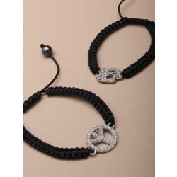 black plaited corded friendship bracelet with diamante...