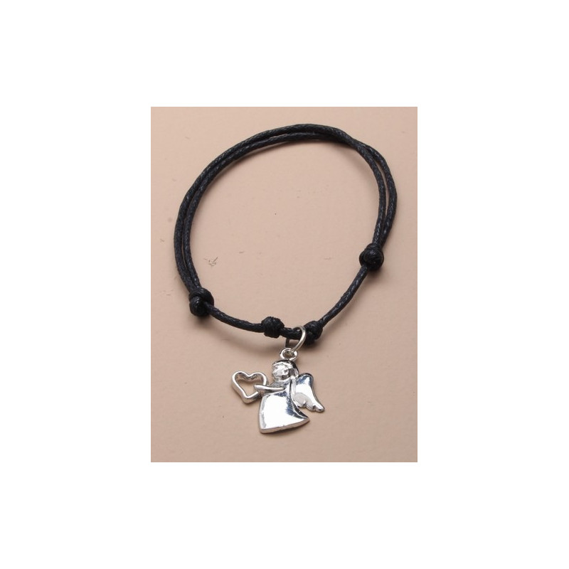 zwart snoer verstelbare armband met beschermengel charme.