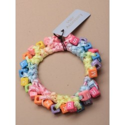 cubed alphabet corded scrunchie. in an assortment of pink / lilac and multi coloured.