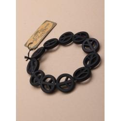 black peace symbol bracelet.