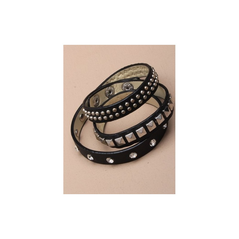 black 3 wrap leather look stud detail bracelet.