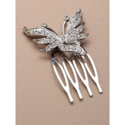 2cm silv side comb with crystal butterfly motif.
