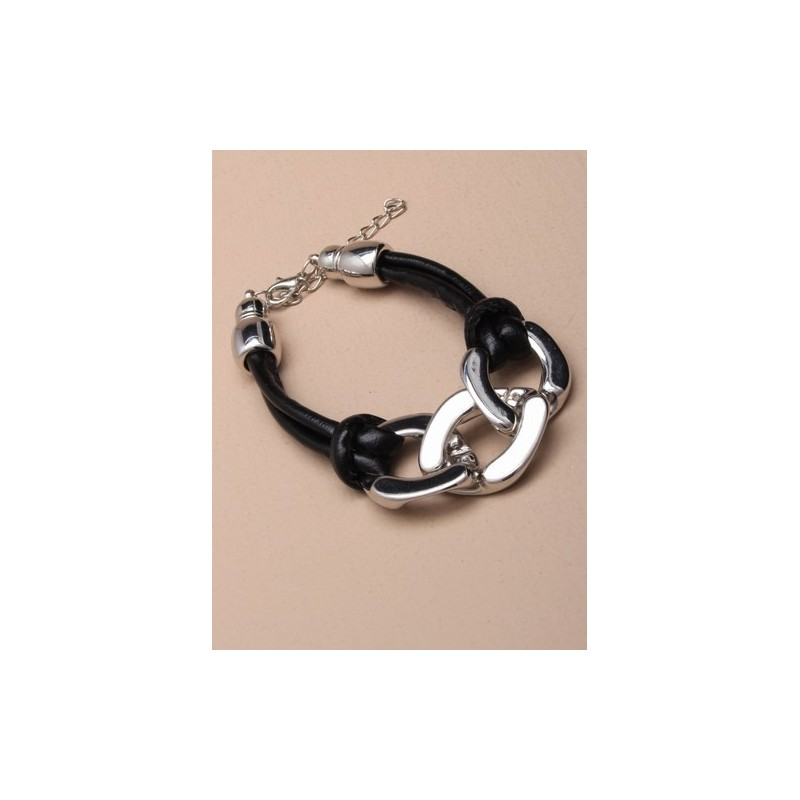 black corded bracelet with large chain links. in gilt and silv.