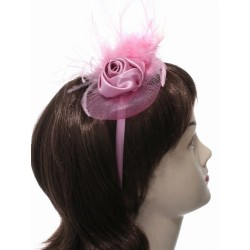 Fascinator Headband Hair Band - Satin rosebud, net & feather narrow headband fascinator