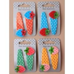 sleepies - blank jordbær polka par 5.5cm klik klak sleepies
