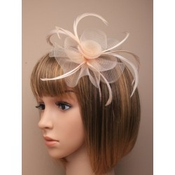 Fascinator Headband Hair band - Nude/Beige Centre net flower and feather fascinator headband aliceband