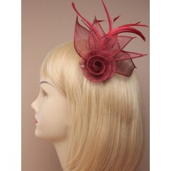Fascinator Clip & Pin - Burgundy mesh net flower fascinator with feathers on a beak clip and brooch pin