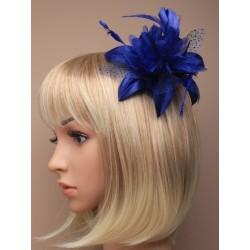 Fascinator Comb - Dark Royal blue feather flower...