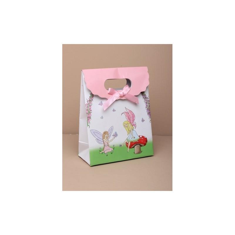 caja de regalo de hadas / bolsa 16x12x6cm con velcro superior y rosa lazo de cinta