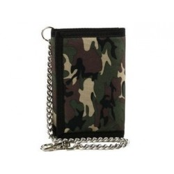 Wallet - Camouflage tri-fold wallet with chain and clip
