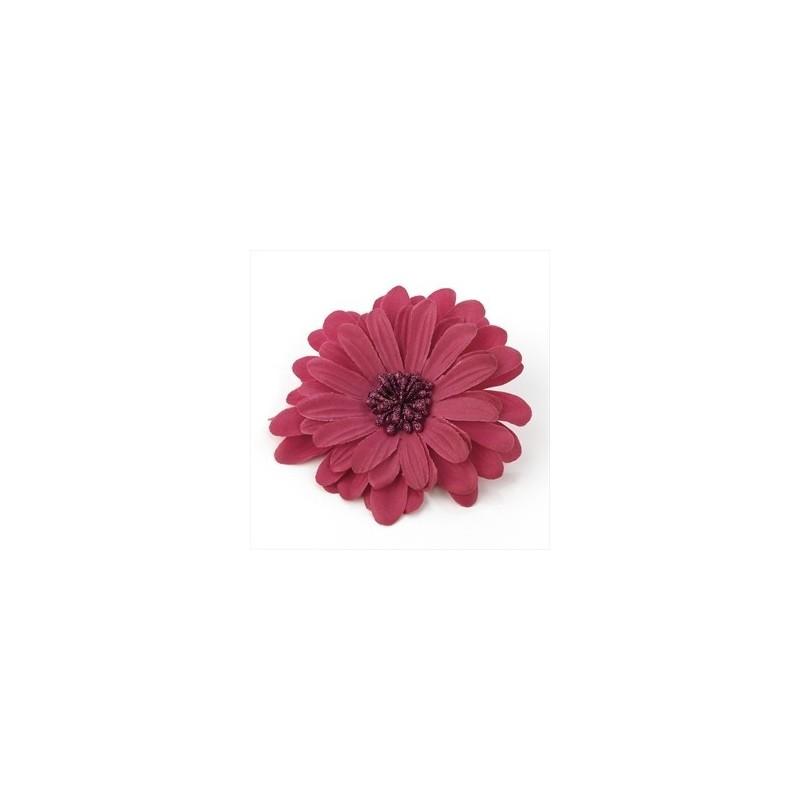 couleur fuchsia 10cm cheveux fleur sur élastique et clip.