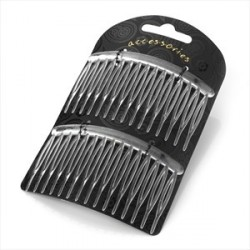 Hair Combs - Two piece clear colour 8cm hair side comb set