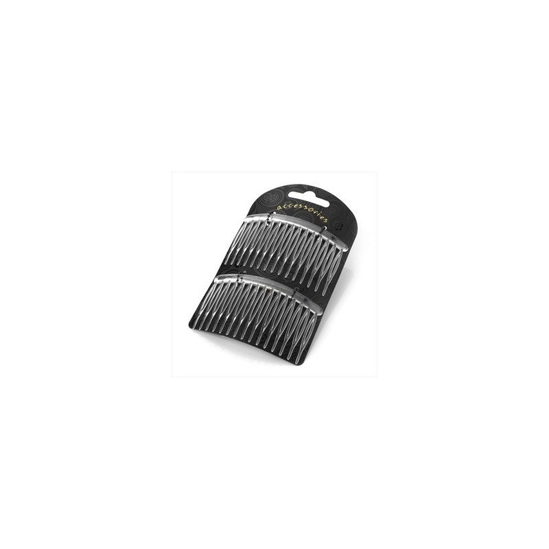 Two piece clear colour 8cm hair side comb set.