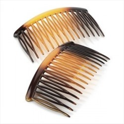 Two piece tortoise shell colour 8cm hair side comb set.