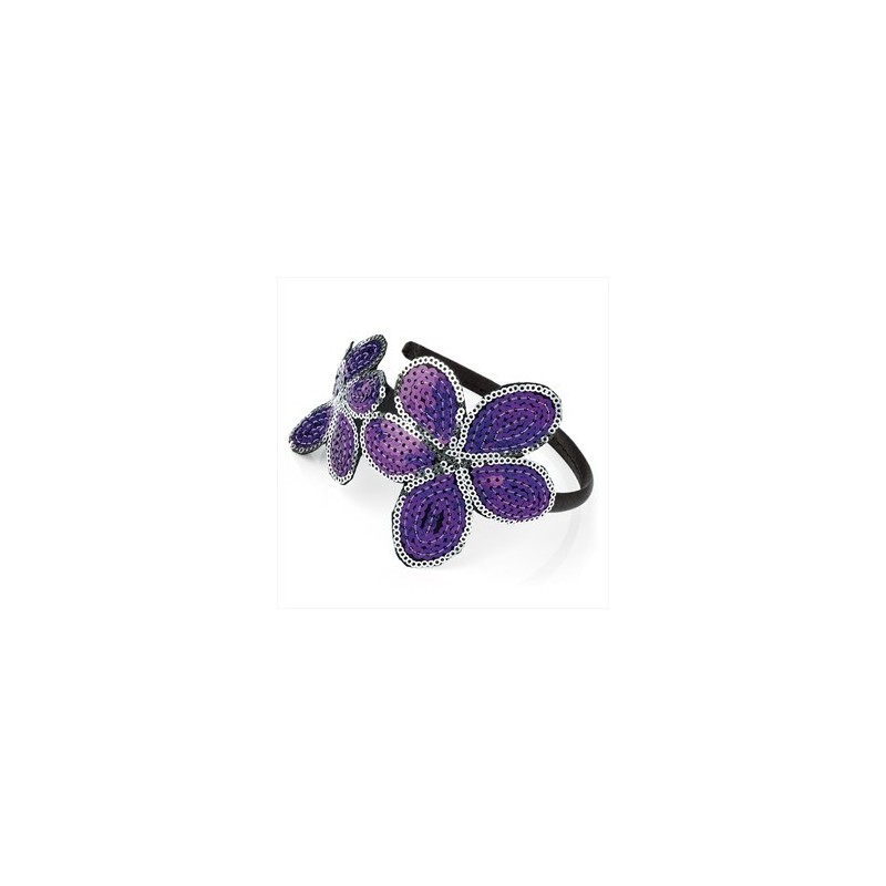 Purple and silver colour sequin double flower headband.