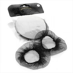 Hair Bun Net - Two piece assorted design black bun net hair accessory set.