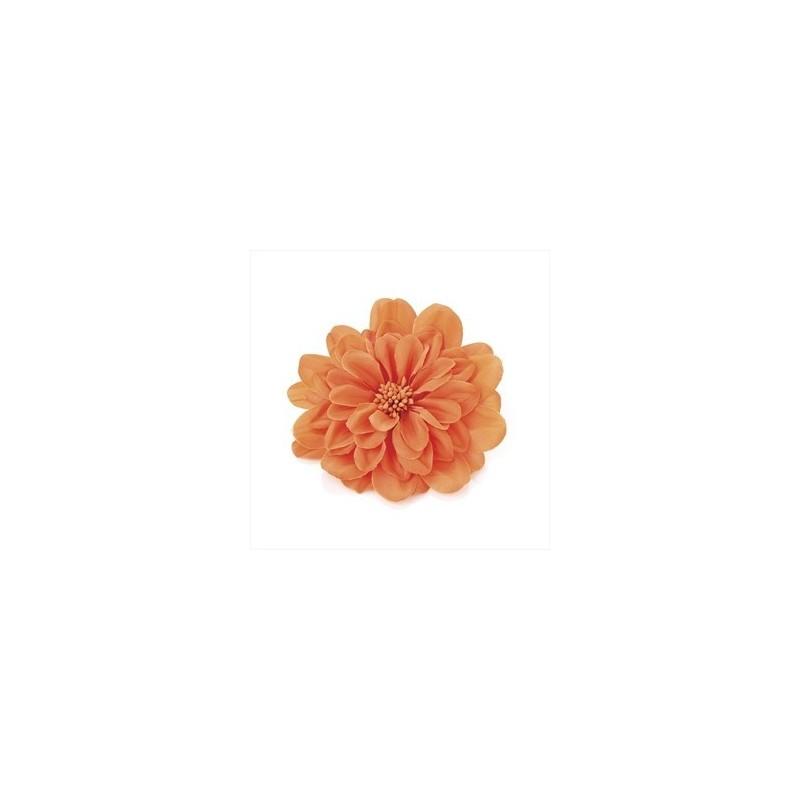Bright orange tone 10cm flower on both a hair elastic & clip.