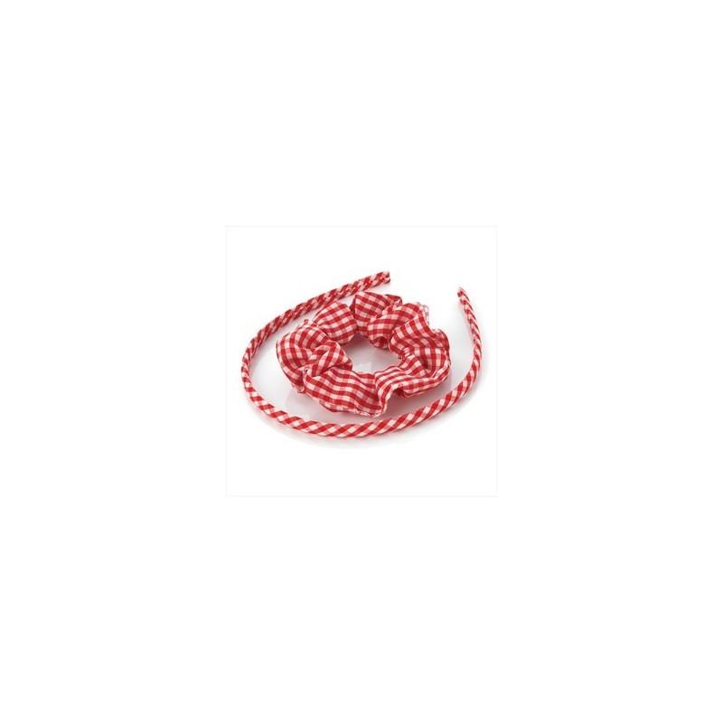 to stykke rødt gingham pandebånd & scrunchie tilbage til skolen hår tilbehør sæt.