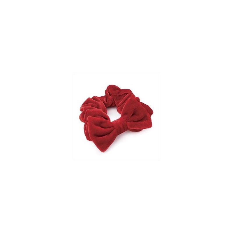 Red velvet effect elasticated hair scrunchie with bow.