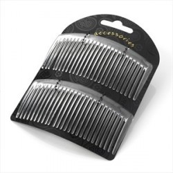 Two piece clear colour 9.5cm hair side comb set.