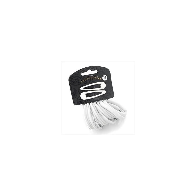 Twenty piece white colour hair snap clip and elastic set.