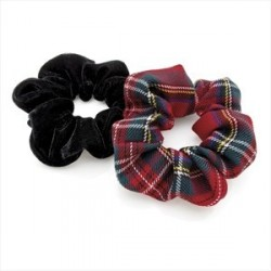 Two piece red tartan print and black velvet look elasticated hair scrunchie set.